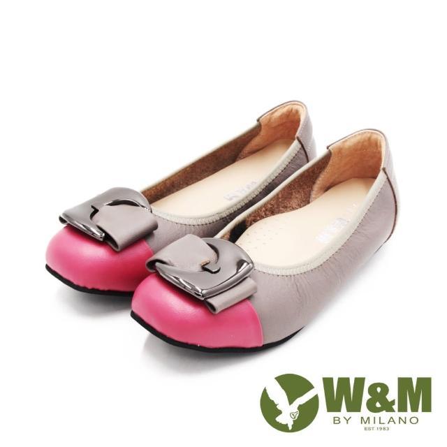 【W&M】女 圓頭拼接方釦淑女平底娃娃鞋 女鞋(灰桃)