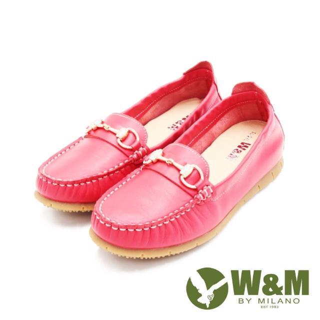 【W&M】女 心機內增高馬銜釦樂福鞋 女鞋(淺紅)