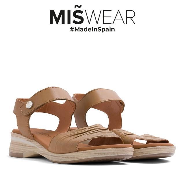 【MISWEAR】Paula Urban 牛皮抓皺一字楔型涼鞋-裸膚