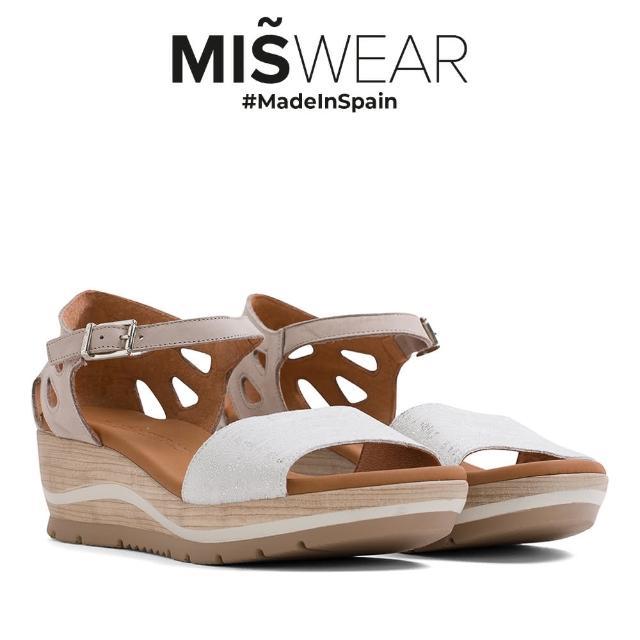 【MISWEAR】Paula Urban 真皮鏤空後包楔型涼鞋-白