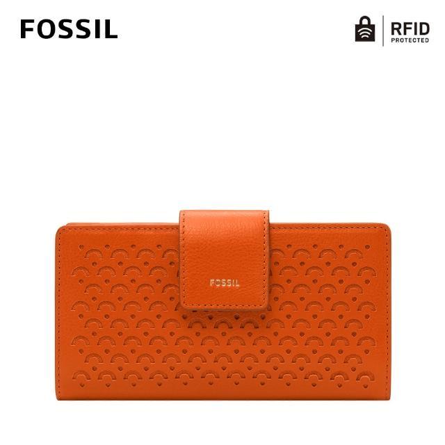 【FOSSIL】Logan 真皮扣式RFID防盜中長夾-橘色 SL6475801