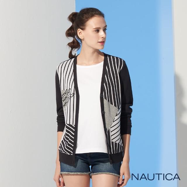 【NAUTICA】女裝幾何條紋長袖針織外套(黑)