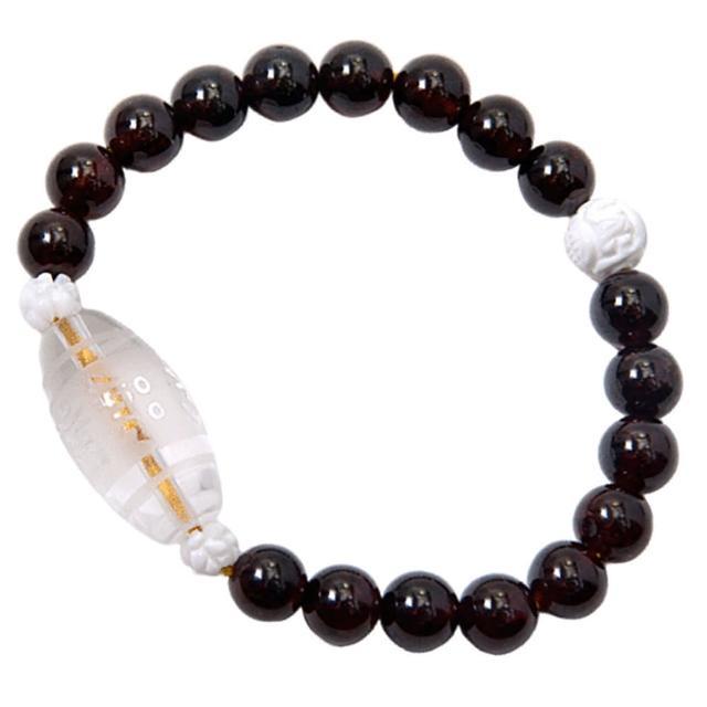 【十方佛教文物】水晶{六字真言}& 紅石榴石手珠8mm