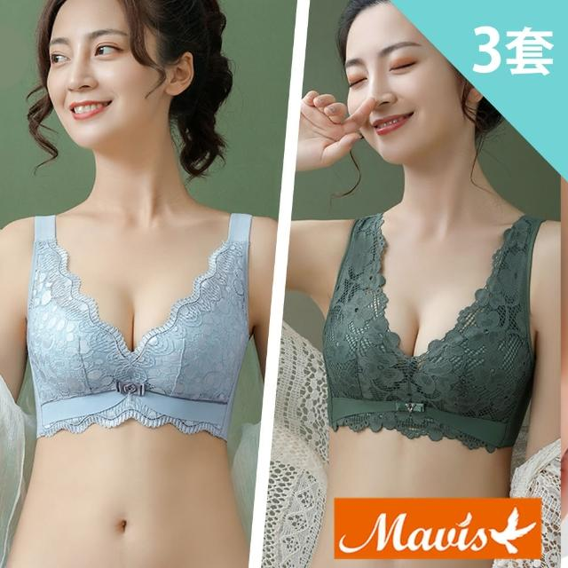 【Mavis 瑪薇絲】蕾絲集中無鋼圈內衣褲/乳膠內衣(3套組-2款任選)