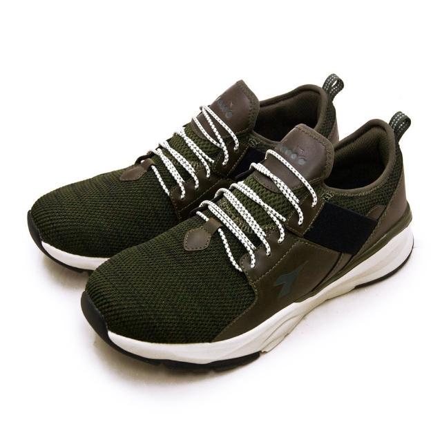 【DIADORA】男 迪亞多那 2E寬楦襪套式防潑水輕旅運動鞋 悠遊系列(墨綠黑 71101)