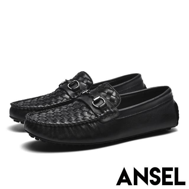 【ANSEL】真皮紳士鞋 手工樂福鞋/全真皮頭層牛皮交錯編織馬銜釦造型豆豆紳士鞋-男鞋(黑)