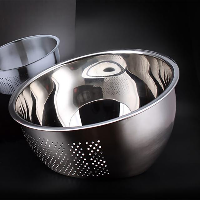 【EZlife】304不鏽鋼雙底面淘米洗菜盆