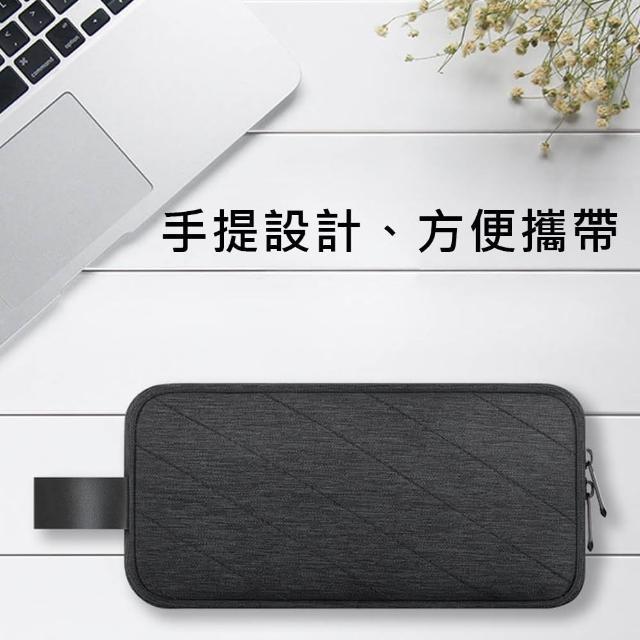 【二木】時尚輕便雙層多功能大容量3C收納包(灰色/深灰色-B04-001)