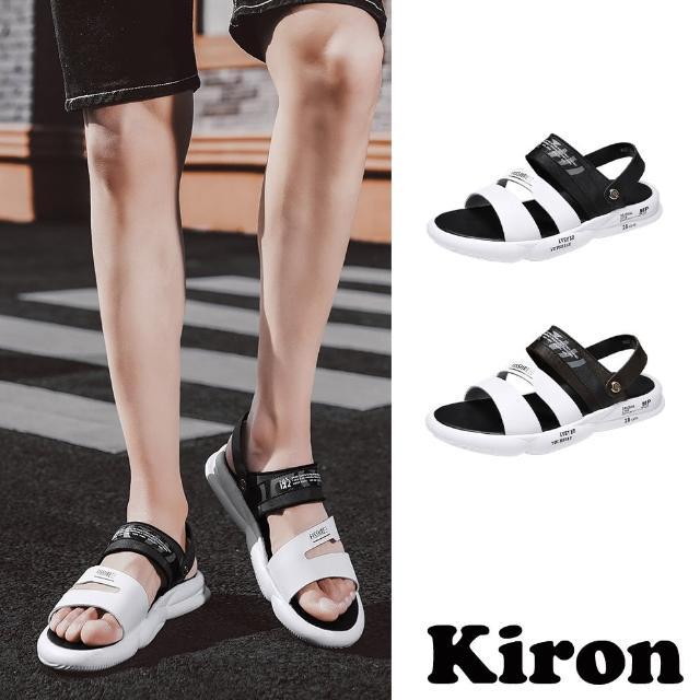 【Kiron】兩穿涼鞋/兩穿法時尚潮流印字個性平底休閒涼拖鞋-男鞋(2色任選)