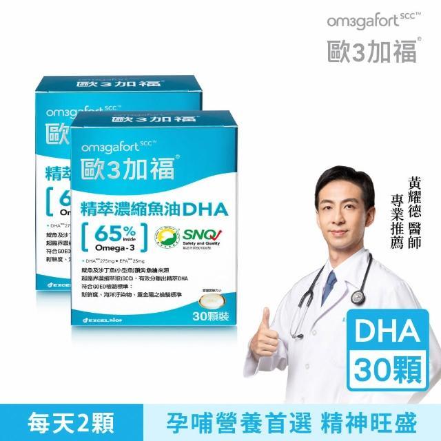【Om3gafort 歐3加福】精萃濃縮魚油DHA 2入組(30顆X2)