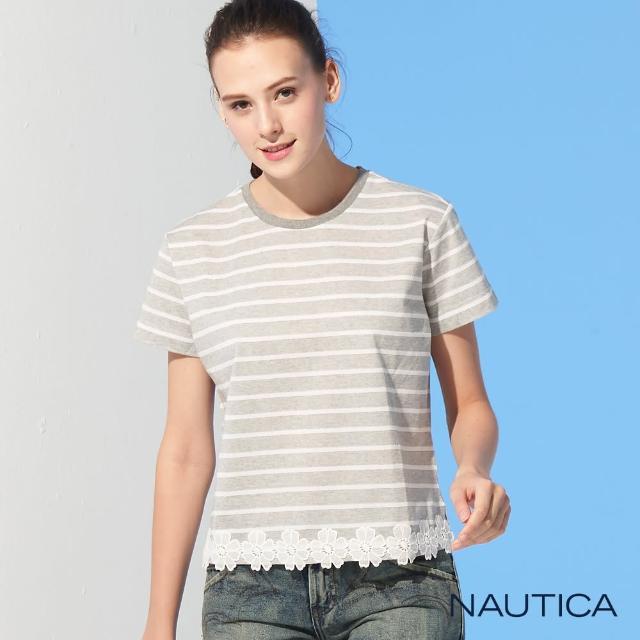 【NAUTICA】女裝經典條紋蕾絲短袖T恤(灰)