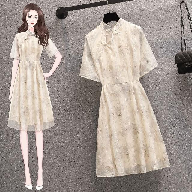 【KVOLL】復古清新改良緹花旗袍杏色小洋裝-L-4XL
