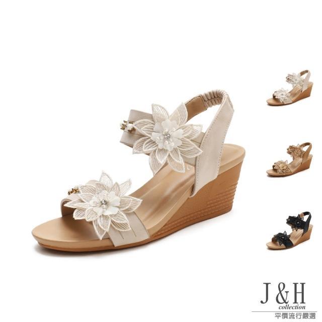 【J&H collection】優雅時尚一字花朵高跟涼鞋(現+預 杏色 / 駝色 / 黑色)