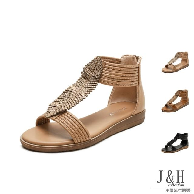 【J&H collection】舒適一字葉子厚底羅馬涼鞋(現+預 杏色 / 棕色 / 黑色)