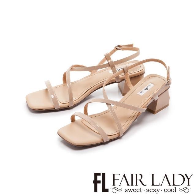 【FAIR LADY】初夏 交叉細帶環繞粗跟涼鞋(卡其、202403)