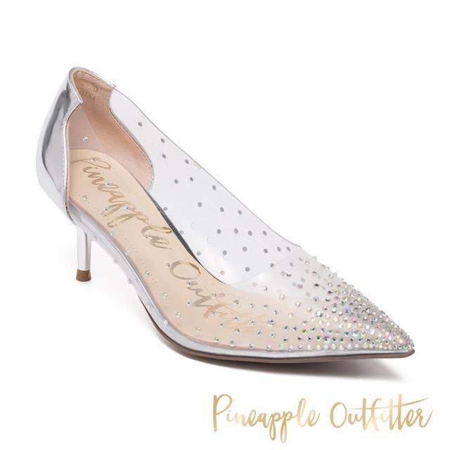 【Pineapple Outfitter】GLAM 亮鑽透明性感尖頭中跟鞋(銀色)