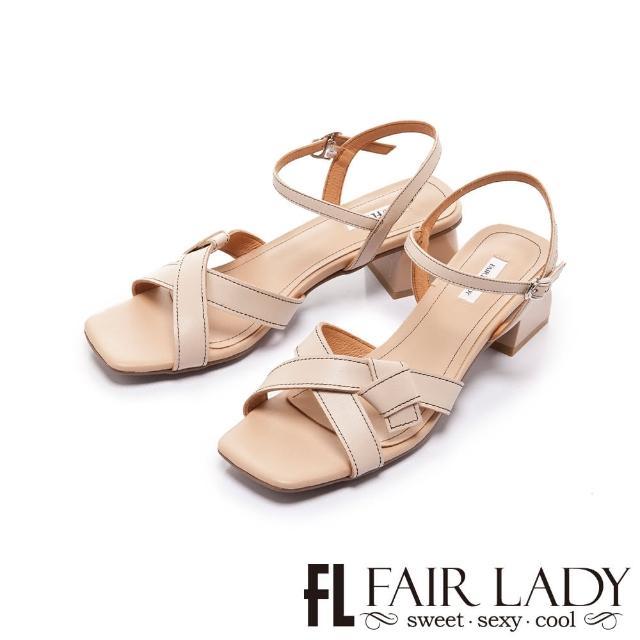 【FAIR LADY】初夏 方頭知性緞帶小貓跟涼拖鞋(卡其、202404)