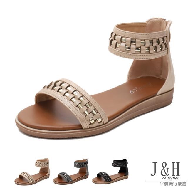【J&H collection】經典編織露趾後拉鍊平底涼鞋(現+預 黑色 / 杏色 / 灰色)