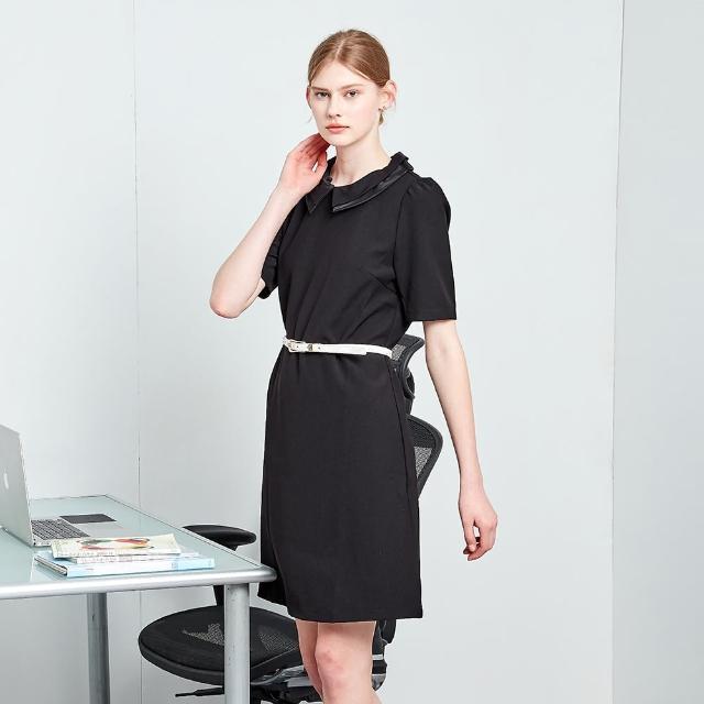 【MASTINA】黑色可拆式領片-女短袖洋裝(黑色/版型適中)