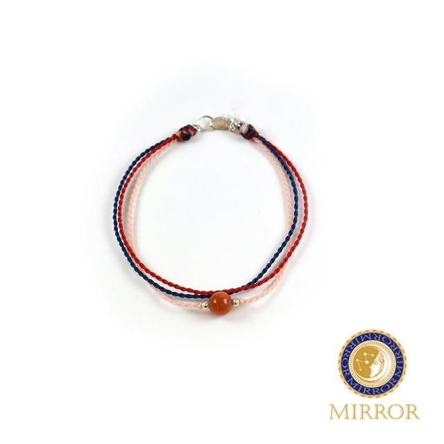 【MIRROR 皇宣緣】三色編織橘紅翡翠蠟線手鍊