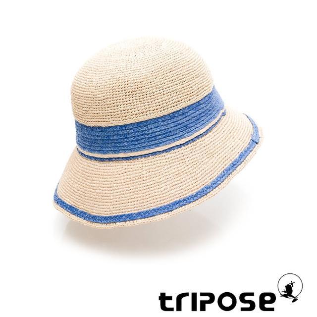 【tripose】GEMMA手工Raffia不對稱拉菲草帽 帽簷8cm(自然色x藍)