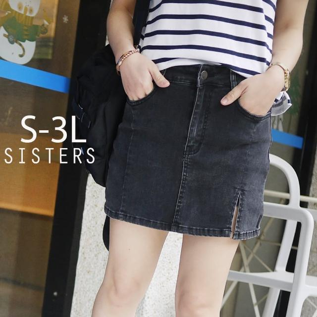 【SISTERS】顯瘦黑系開衩牛仔褲裙 短裙/S-3L(牛仔裙/褲裙/短裙)