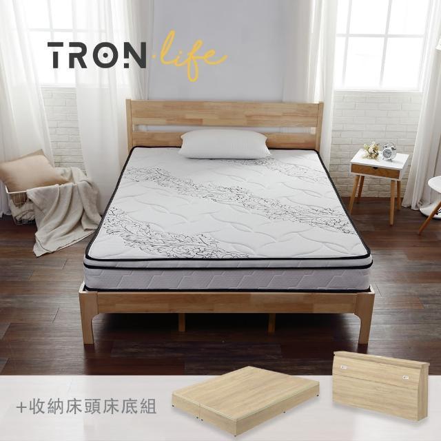 【Tronlife 好床生活】G08-4線加厚防螨乳膠獨立筒床組|雙人特大7尺(床頭+床墊+床底組)