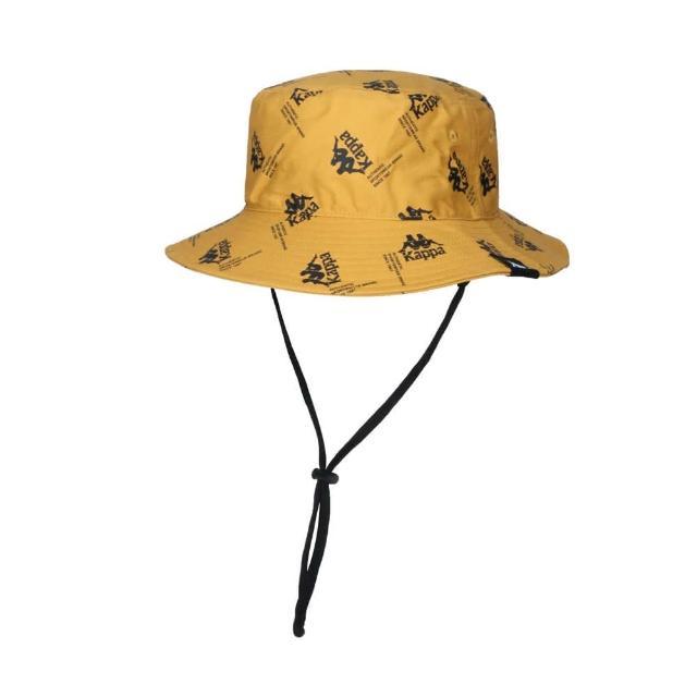 【KAPPA】漁夫帽-純棉 防曬 遮陽 運動 帽子 黃黑(321937W-Z07)