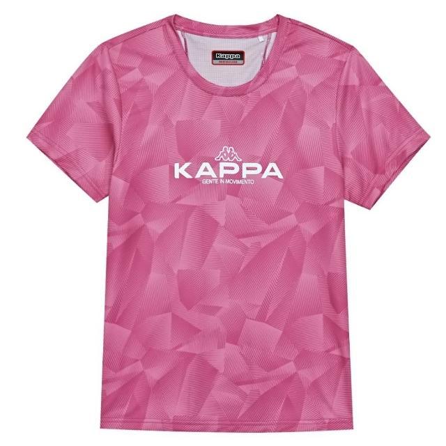 【KAPPA】吸濕排汗速乾女生針織圓領杉-莓紅(34168GWV27)