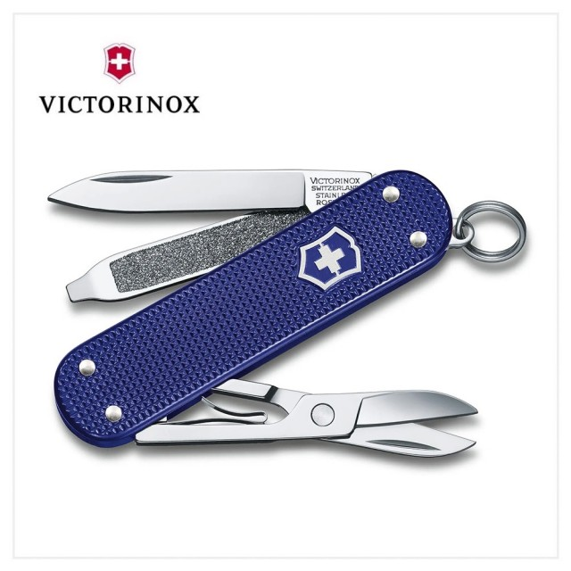 【VICTORINOX 瑞士維氏】Night Dive經典鋁合金深潛藍 5用瑞士刀款 58mm(0.6221.222G)