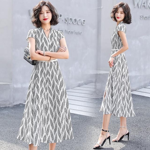 【SZ】時髦有型高腰開岔裙襬撞色印花洋裝M-2XL(共二色)