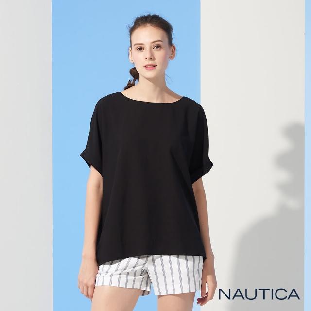 【NAUTICA】女裝圓領露背綁帶短袖上衣(黑)