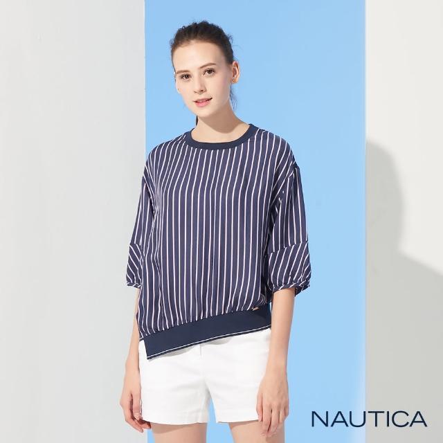 【NAUTICA】女裝條紋寬版七分袖襯衫(深藍)
