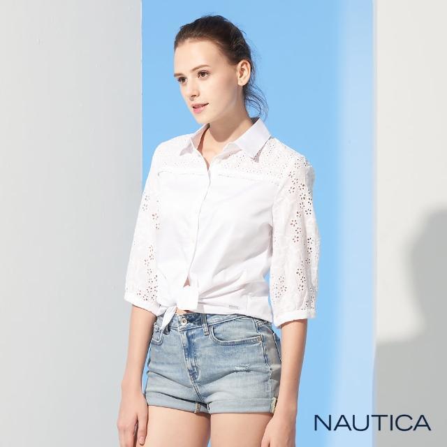 【NAUTICA】女裝拼接蕾絲休閒七分袖襯衫(白色)