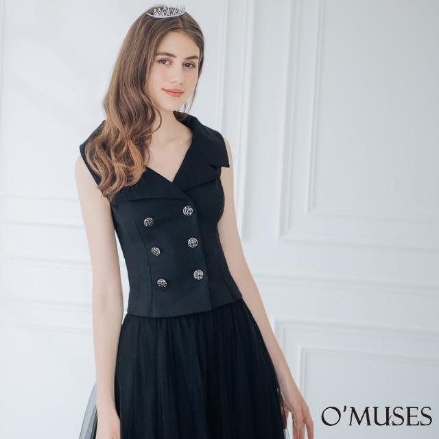 【OMUSES】V領排釦黑色上衣襯衫12-6863(S-XL)