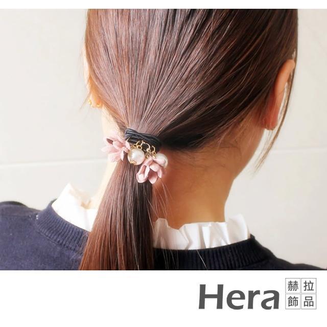【HERA 赫拉】韓版簡約珍珠布藝花朵髮圈-2入組(韓版 髮圈)