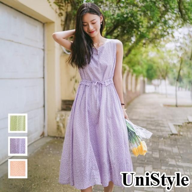 【UniStyle】原創設計師款 溫柔碎花收腰顯瘦中長版無袖連衣裙洋裝 女 FA5545(櫻花粉/薰衣草/菓綠)