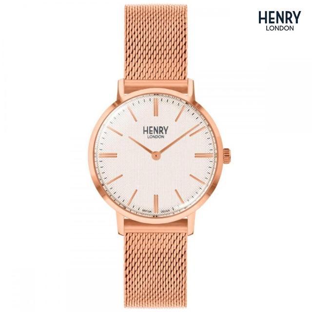 【HENRY LONDON】英國品牌 白紋路面 玫瑰金米蘭錶帶腕錶(HL34-M-0376)
