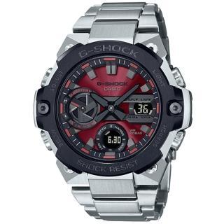 【CASIO 卡西歐】G-SHOCK 碳纖維防護太陽能藍牙手錶(GST-B400AD-1A4)