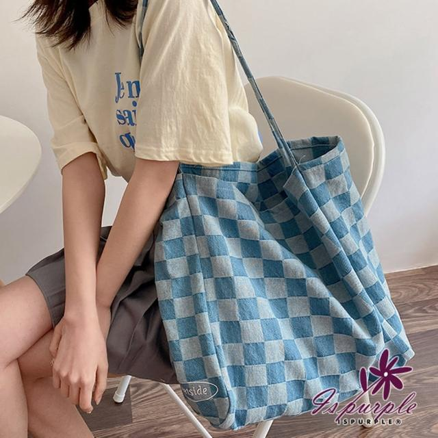 【iSPurple】牛仔格紋*水洗大容量購物手提肩背帆布包