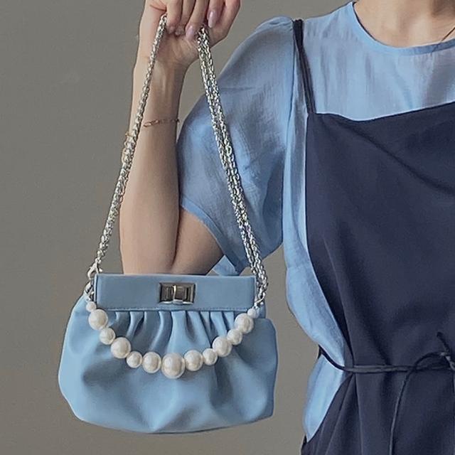 【I FUN】現+預 氣質輕奢軟皮珍珠鍊條包(單肩包/斜跨包/手提包)