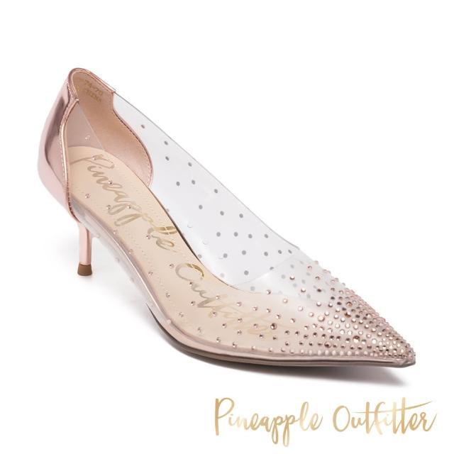 【Pineapple Outfitter】GLAM 亮鑽透明性感尖頭中跟鞋(玫瑰金)