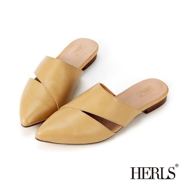 【HERLS】穆勒鞋-簡約鏤空拼接設計尖頭穆勒鞋拖鞋(駝色)