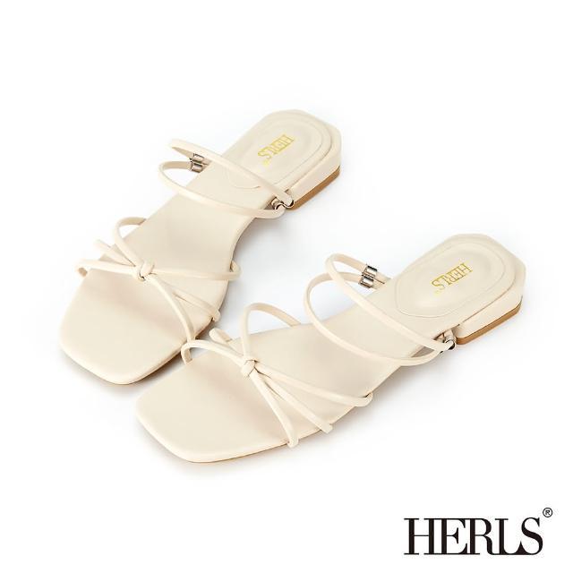 【HERLS】涼鞋-兩穿交叉細帶立體結飾低跟涼拖鞋(米色)