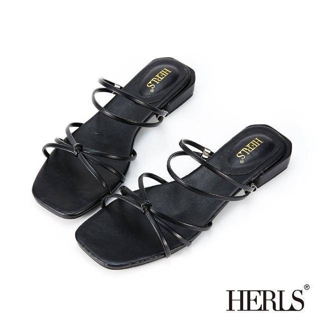 【HERLS】涼鞋-兩穿交叉細帶立體結飾低跟涼拖鞋(黑色)