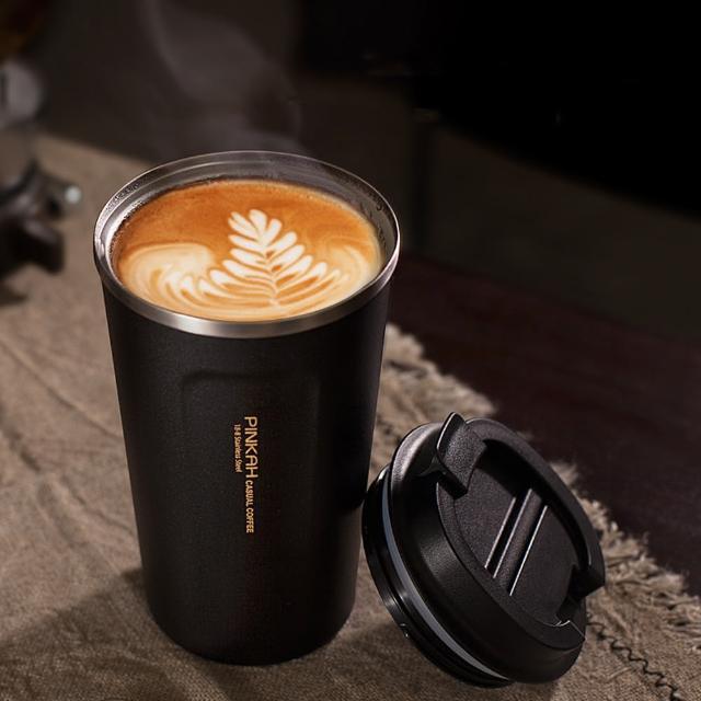 【PUSH!】餐具用品316不鏽鋼510ml帶蓋咖啡保溫杯隨手杯(E119)