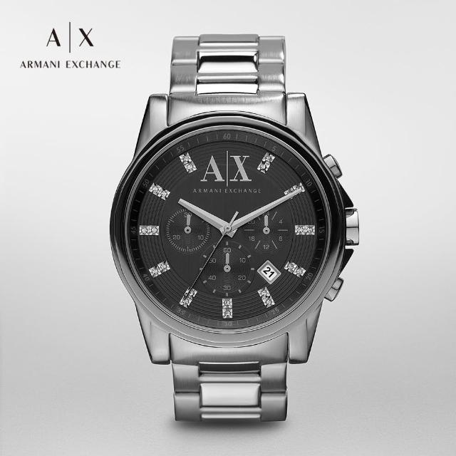 Outerbanks 三眼計時鑲鑽手錶 銀色不鏽鋼鍊帶 45MM AX2092