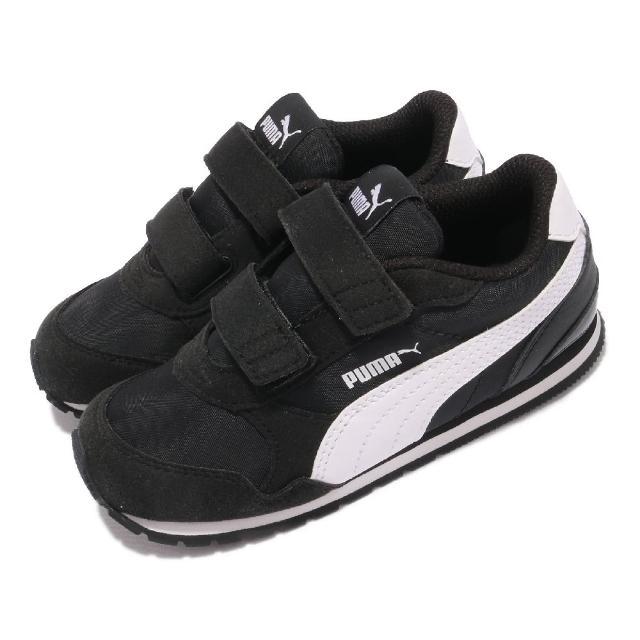 【PUMA】休閒鞋 ST Runner v2 NL V 童鞋 魔鬼氈 外出 麂皮 穿搭推薦 小童 黑 白(36529501)