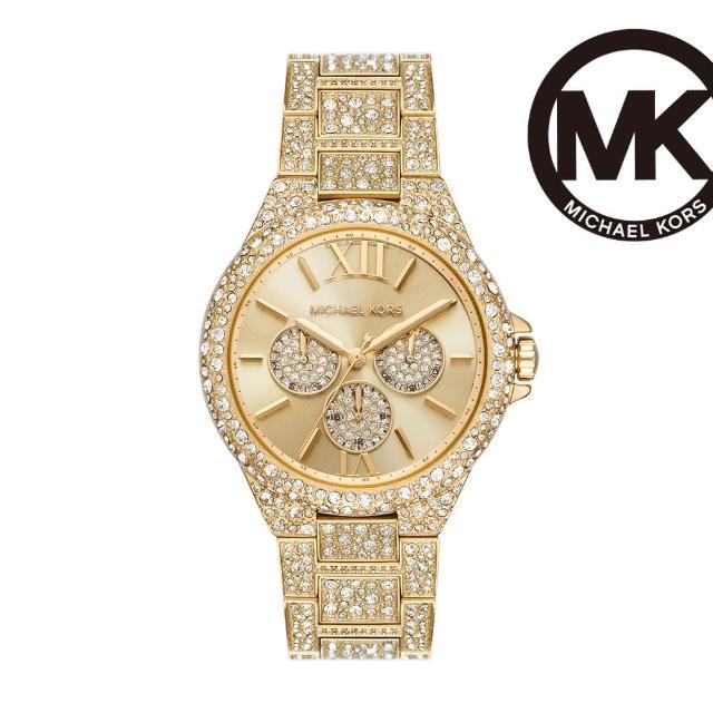 【Michael Kors】Camille 璀璨時旅三眼女錶 金色不鏽鋼鍊帶 42MM MK6958