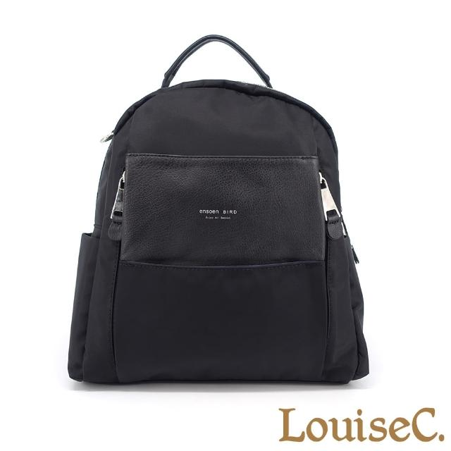 【LouiseC.】Tree House 真牛皮+輕盈尼龍圓弧手提後背包-黑色(YS195107-05)